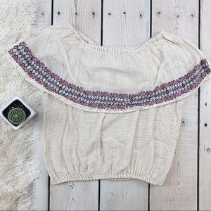 Billabong | Strapless Cream/White Embroidered Top